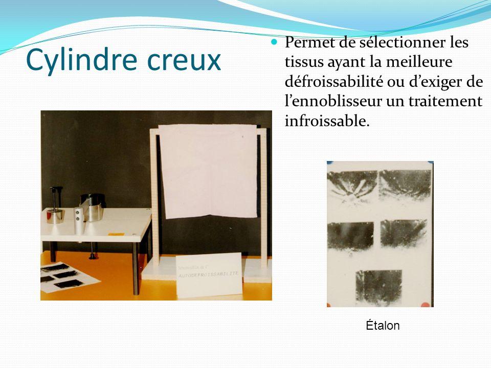 Cylindre creux Permet de sélectionner les tissus ayant la meilleure défroissabilité ou dexiger de lennoblisseur un traitement infroissable. Étalon