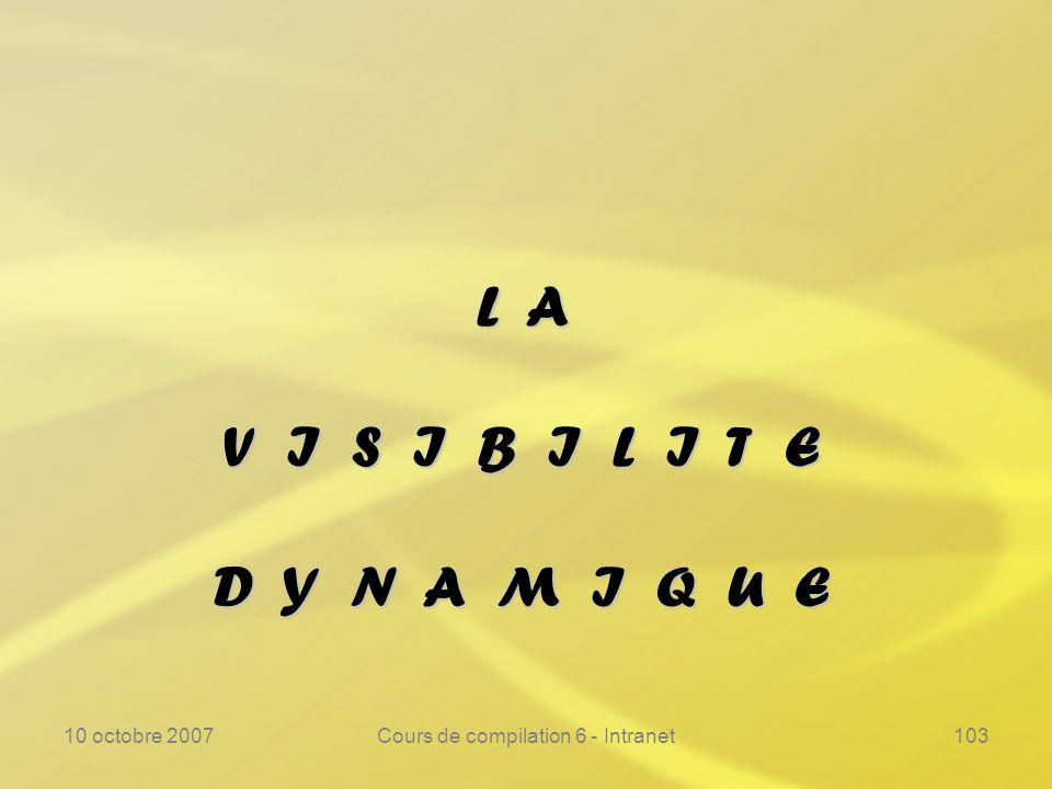 10 octobre 2007Cours de compilation 6 - Intranet103 L A V I S I B I L I T E D Y N A M I Q U E