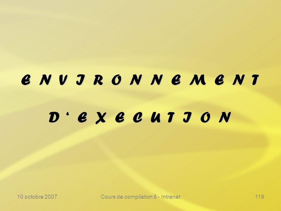 10 octobre 2007Cours de compilation 6 - Intranet119 E N V I R O N N E M E N T D E X E C U T I O N