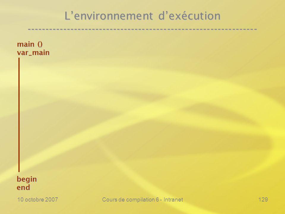10 octobre 2007Cours de compilation 6 - Intranet129 Lenvironnement dexécution ---------------------------------------------------------------- main ()