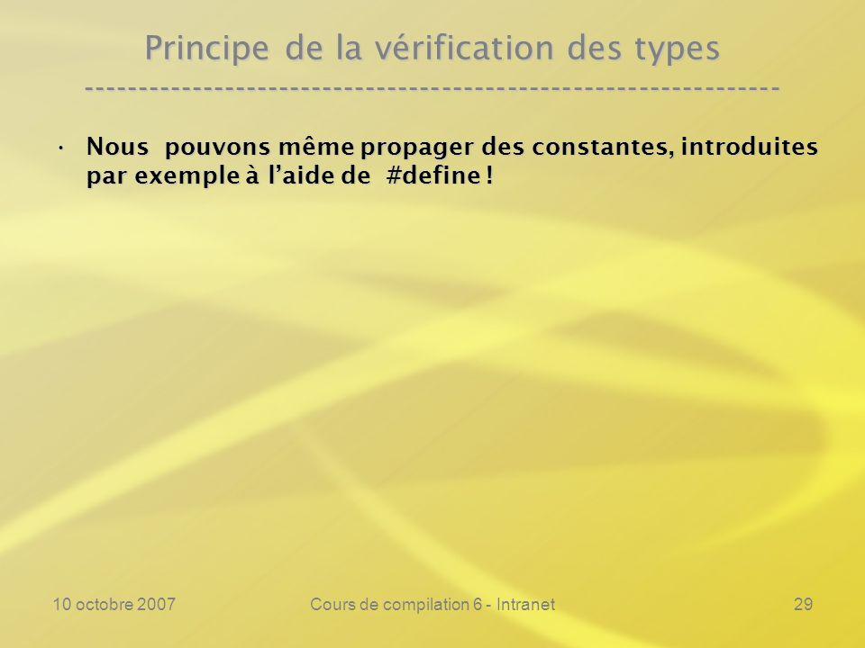 10 octobre 2007Cours de compilation 6 - Intranet29 Principe de la vérification des types -------------------------------------------------------------