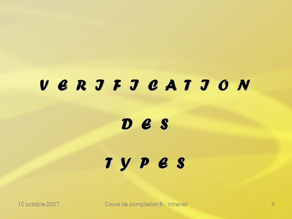 10 octobre 2007Cours de compilation 6 - Intranet4 V E R I F I C A T I O N D E S T Y P E S