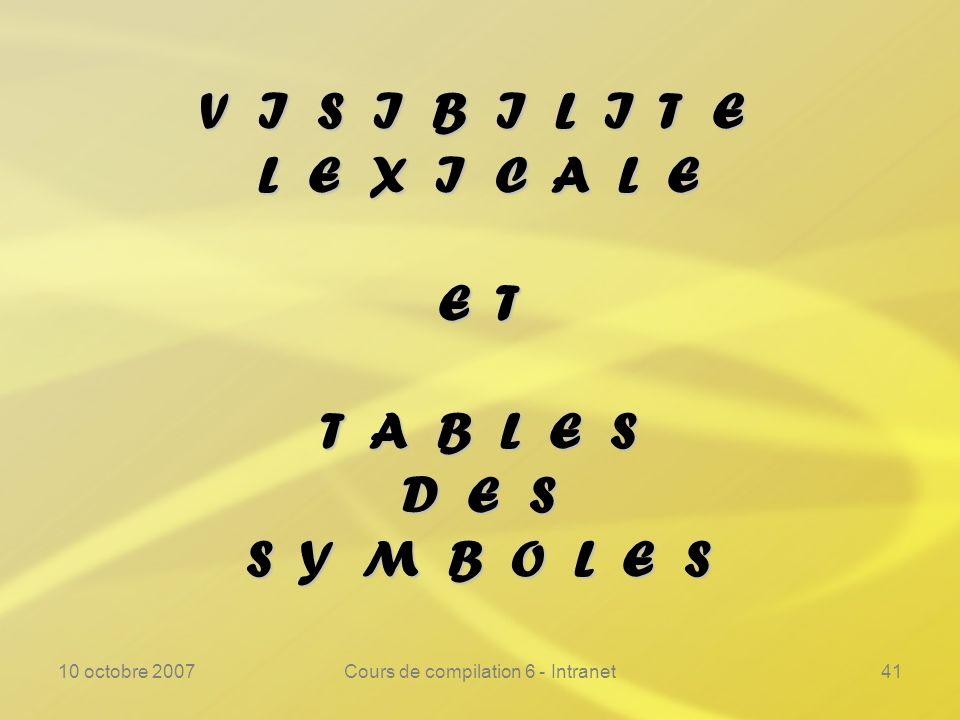 10 octobre 2007Cours de compilation 6 - Intranet41 V I S I B I L I T E L E X I C A L E E T T A B L E S D E S S Y M B O L E S