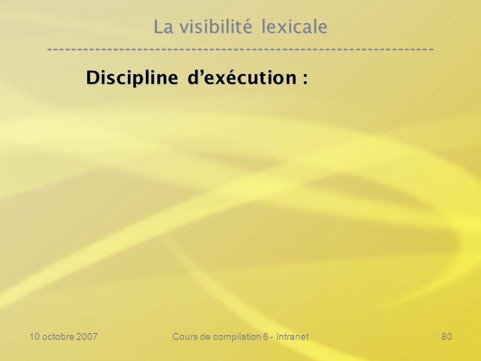 10 octobre 2007Cours de compilation 6 - Intranet80 La visibilité lexicale ---------------------------------------------------------------- Discipline