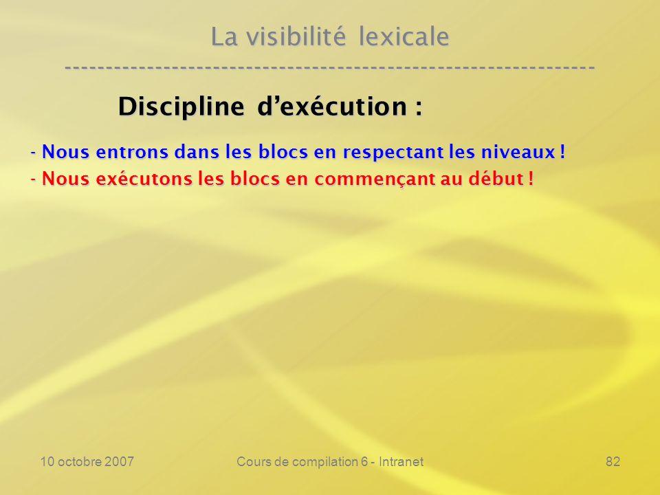 10 octobre 2007Cours de compilation 6 - Intranet82 La visibilité lexicale ---------------------------------------------------------------- Discipline