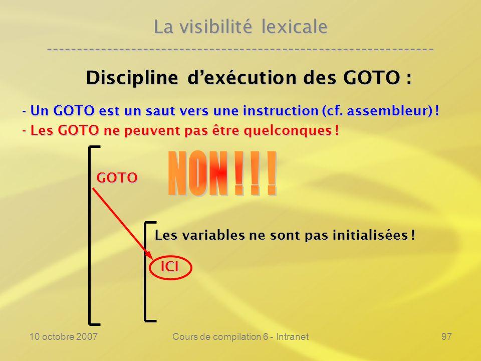 10 octobre 2007Cours de compilation 6 - Intranet97 La visibilité lexicale ---------------------------------------------------------------- Discipline