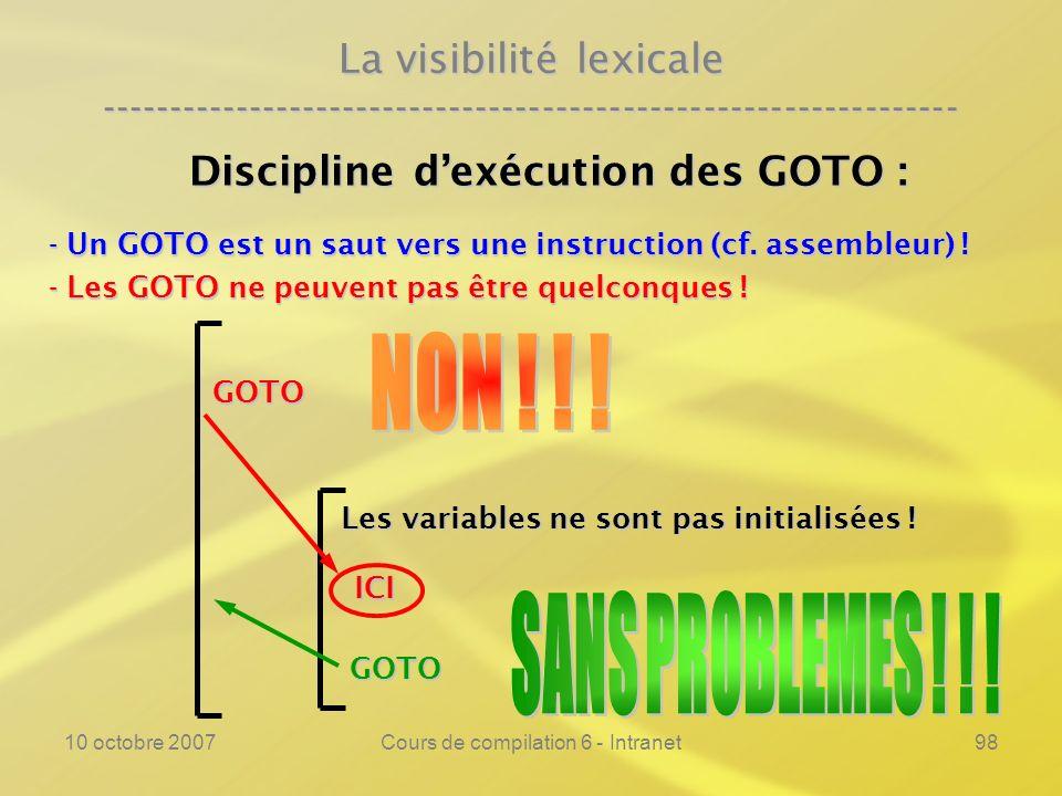 10 octobre 2007Cours de compilation 6 - Intranet98 La visibilité lexicale ---------------------------------------------------------------- Discipline