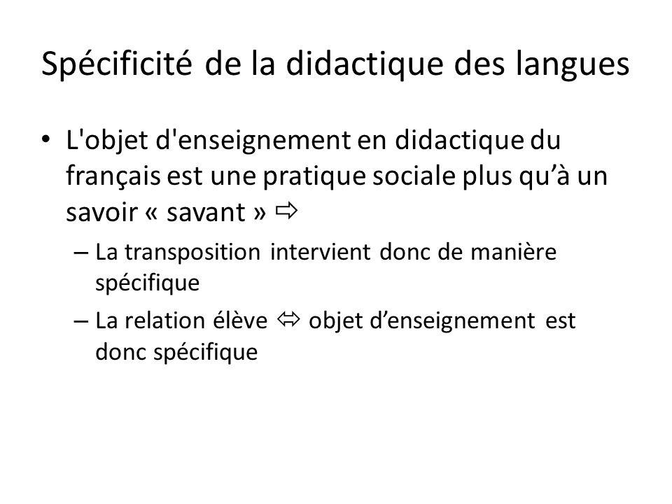 Spécificité de la didactique des langues L objet d enseignement en didactique du français est une pratique sociale plus quà un savoir « savant » – La transposition intervient donc de manière spécifique – La relation élève objet denseignement est donc spécifique