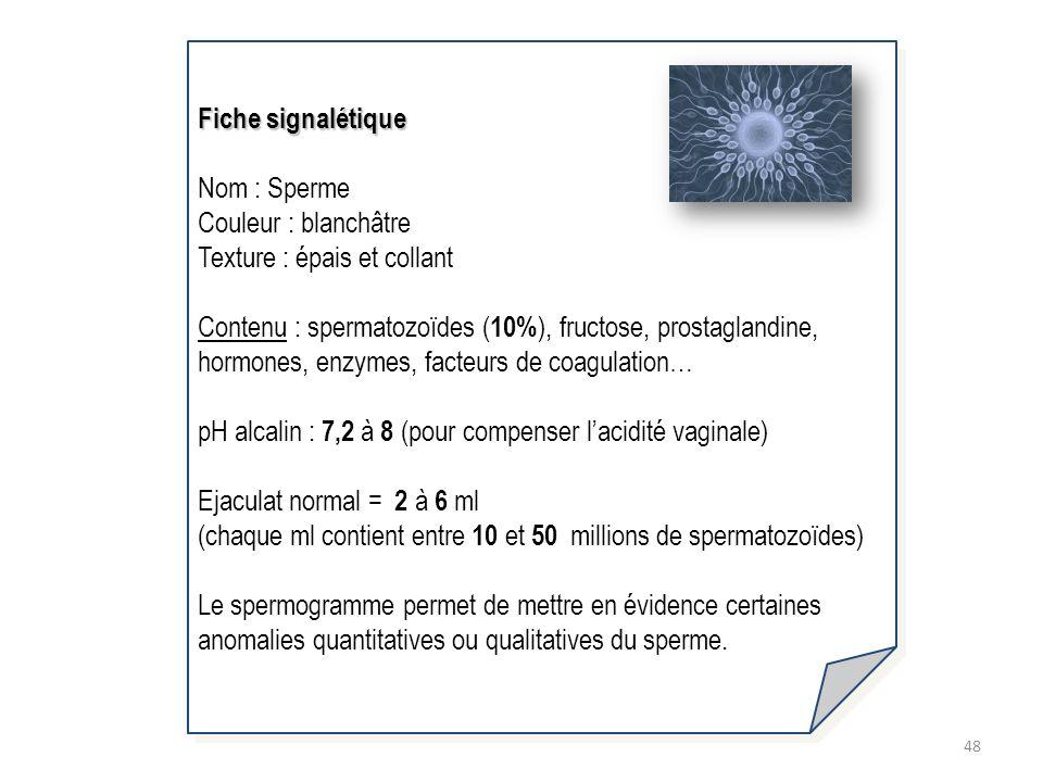 48 Fiche signalétique Nom : Sperme Couleur : blanchâtre Texture : épais et collant Contenu : spermatozoïdes ( 10% ), fructose, prostaglandine, hormone