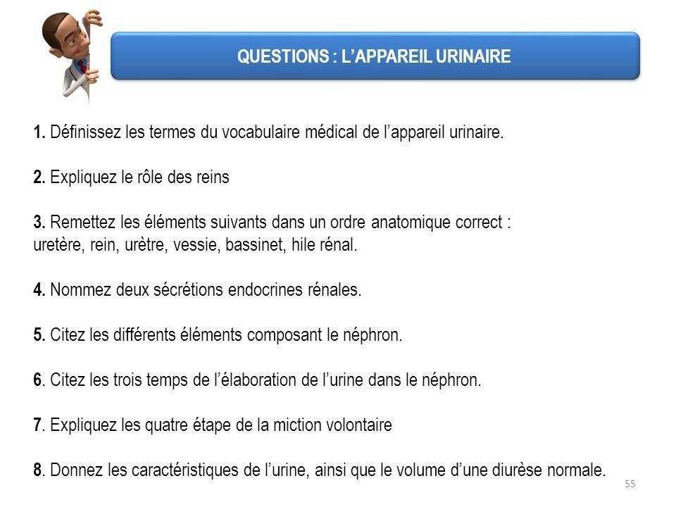 55 QUESTIONS : LAPPAREIL URINAIRE 1. Définissez les termes du vocabulaire médical de lappareil urinaire. 2. Expliquez le rôle des reins 3. Remettez le