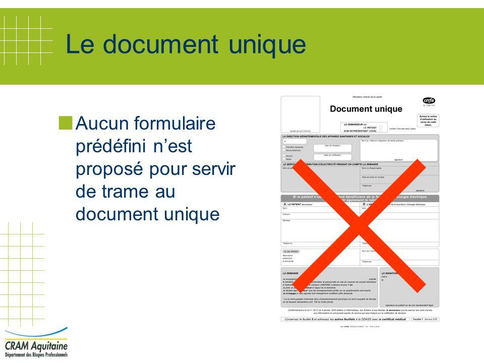 Le document unique Aucun formulaire prédéfini nest proposé pour servir de trame au document unique