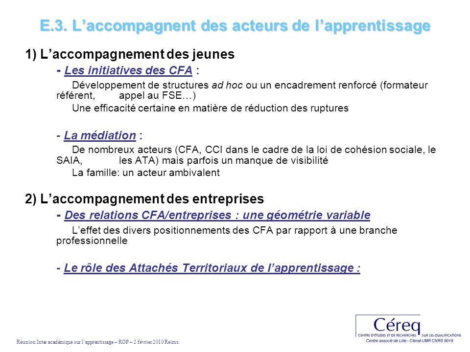 E.3. Laccompagnent des acteurs de lapprentissage 1) Laccompagnement des jeunes - Les initiatives des CFA : Développement de structures ad hoc ou un en