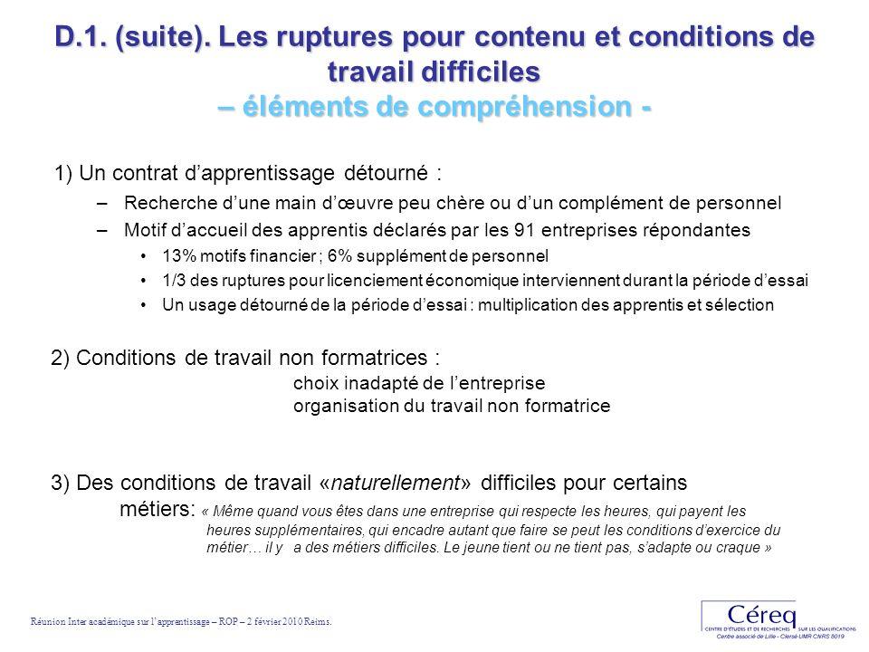 D.1. (suite). Les ruptures pour contenu et conditions de travail difficiles – éléments de compréhension - 1) Un contrat dapprentissage détourné : –Rec