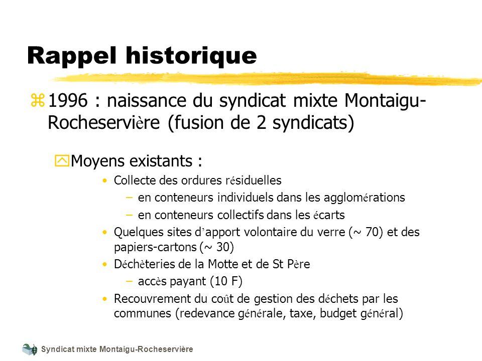 Syndicat mixte Montaigu-Rocheservière Rappel historique z 1996 : naissance du syndicat mixte Montaigu- Rocheservi è re (fusion de 2 syndicats) y Moyen