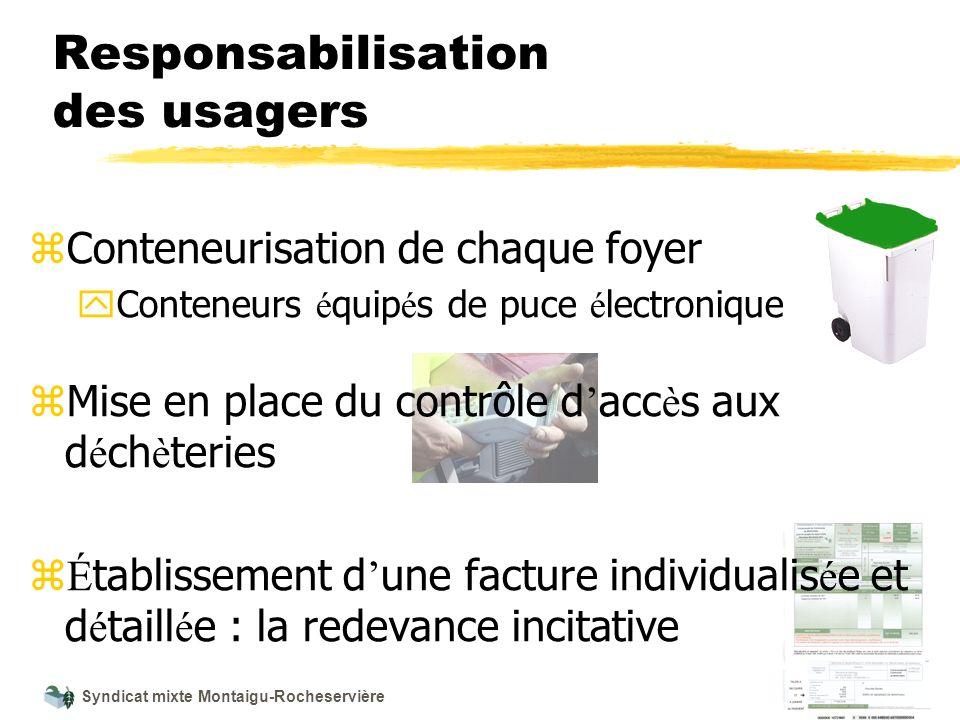 Syndicat mixte Montaigu-Rocheservière Responsabilisation des usagers z Conteneurisation de chaque foyer y Conteneurs é quip é s de puce é lectronique