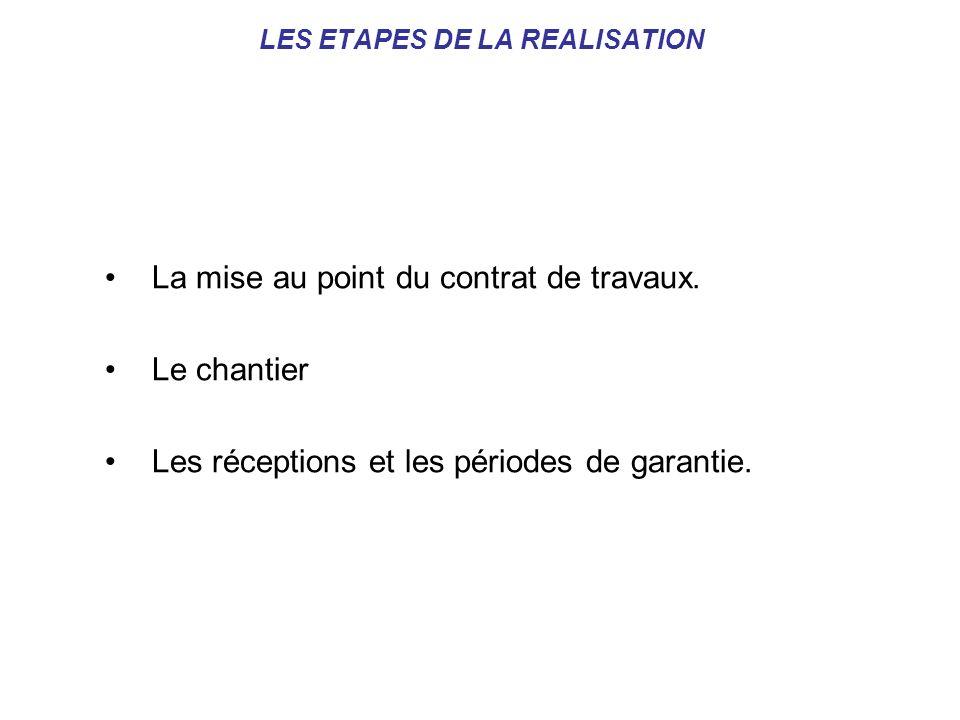 LES ETAPES DE LA REALISATION La mise au point du contrat de travaux. Le chantier Les réceptions et les périodes de garantie.