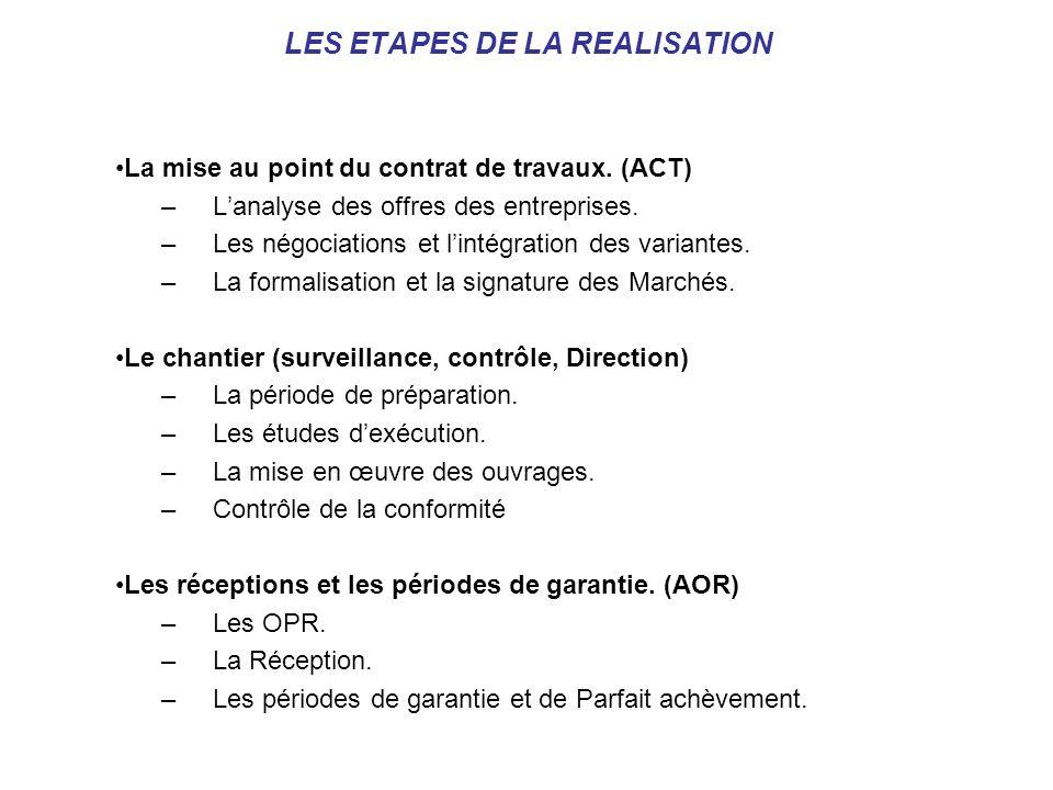 LES ETAPES DE LA REALISATION La mise au point du contrat de travaux. (ACT) –Lanalyse des offres des entreprises. –Les négociations et lintégration des