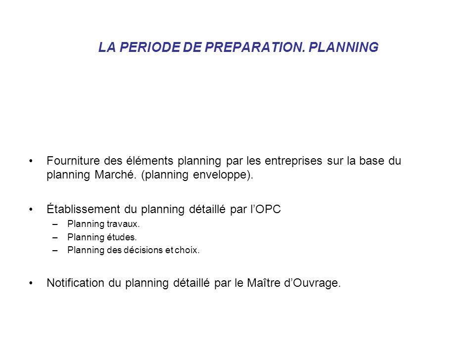 LA PERIODE DE PREPARATION. PLANNING Fourniture des éléments planning par les entreprises sur la base du planning Marché. (planning enveloppe). Établis