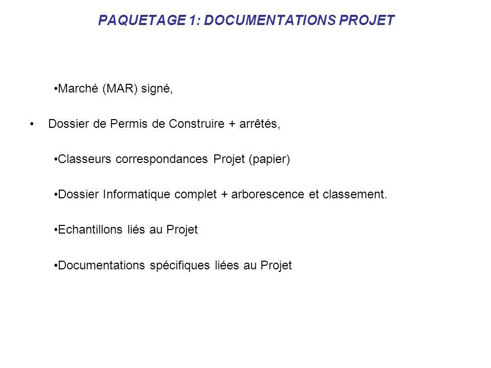 PAQUETAGE 1: DOCUMENTATIONS PROJET Marché (MAR) signé, Dossier de Permis de Construire + arrêtés, Classeurs correspondances Projet (papier) Dossier In