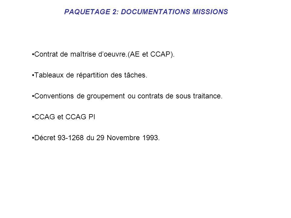 PAQUETAGE 2: DOCUMENTATIONS MISSIONS Contrat de maîtrise doeuvre.(AE et CCAP). Tableaux de répartition des tâches. Conventions de groupement ou contra