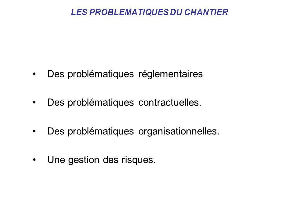 LES PROBLEMATIQUES DU CHANTIER Des problématiques réglementaires Des problématiques contractuelles. Des problématiques organisationnelles. Une gestion
