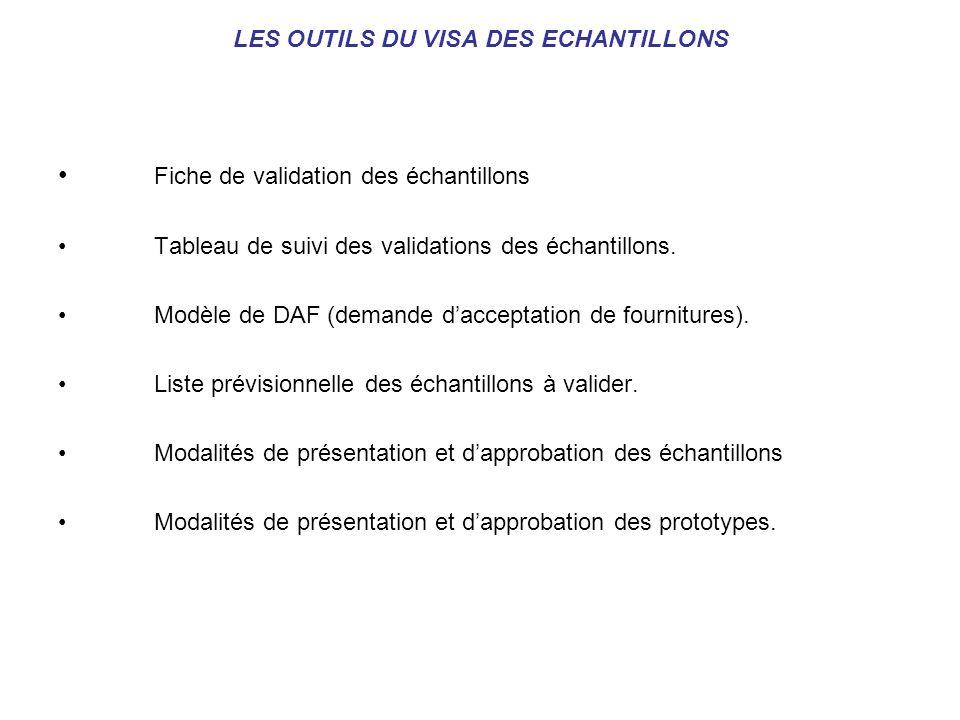 LES OUTILS DU VISA DES ECHANTILLONS Fiche de validation des échantillons Tableau de suivi des validations des échantillons. Modèle de DAF (demande dac