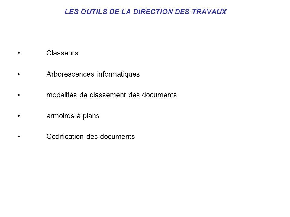LES OUTILS DE LA DIRECTION DES TRAVAUX Classeurs Arborescences informatiques modalités de classement des documents armoires à plans Codification des d