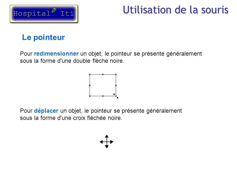 Utilisation de la souris Le pointeur Pour redimensionner un objet, le pointeur se présente généralement sous la forme d'une double flèche noire. Pour