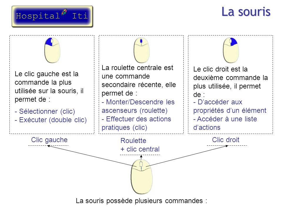 La souris La souris possède plusieurs commandes : Clic gaucheClic droit Roulette + clic central Le clic gauche est la commande la plus utilisée sur la