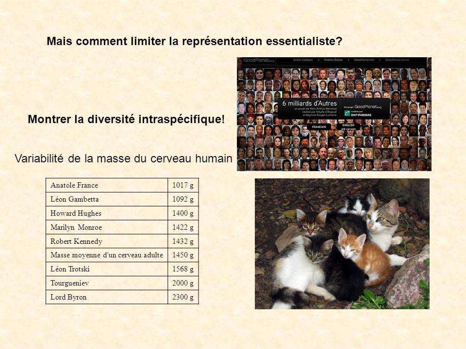 Mais comment limiter la représentation essentialiste? Montrer la diversité intraspécifique! Anatole France1017 g Léon Gambetta1092 g Howard Hughes1400