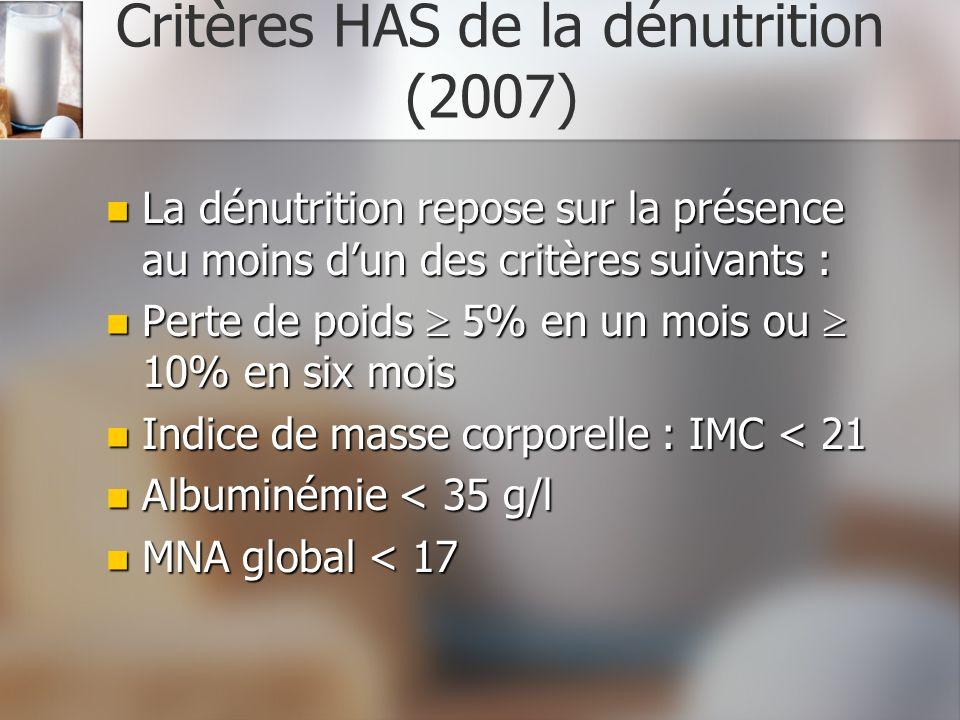 Critères HAS de la dénutrition (2007) La dénutrition repose sur la présence au moins dun des critères suivants : La dénutrition repose sur la présence