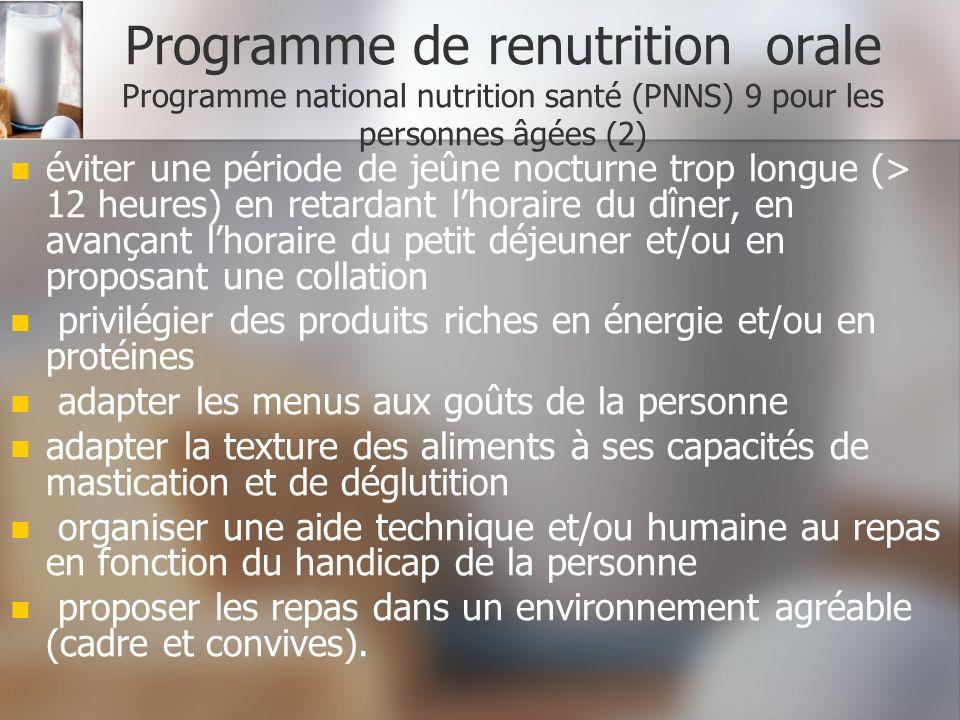 Programme de renutrition orale Programme national nutrition santé (PNNS) 9 pour les personnes âgées (2) éviter une période de jeûne nocturne trop long