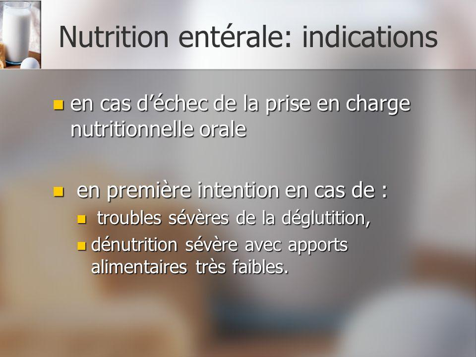 Nutrition entérale: indications en cas déchec de la prise en charge nutritionnelle orale en cas déchec de la prise en charge nutritionnelle orale en p