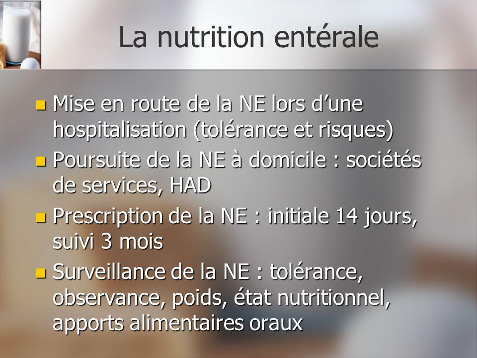 La nutrition entérale Mise en route de la NE lors dune hospitalisation (tolérance et risques) Mise en route de la NE lors dune hospitalisation (toléra