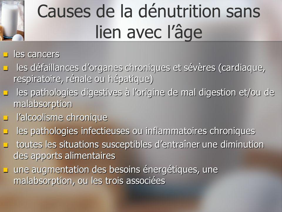 Causes de la dénutrition sans lien avec lâge les cancers les cancers les défaillances dorganes chroniques et sévères (cardiaque, respiratoire, rénale