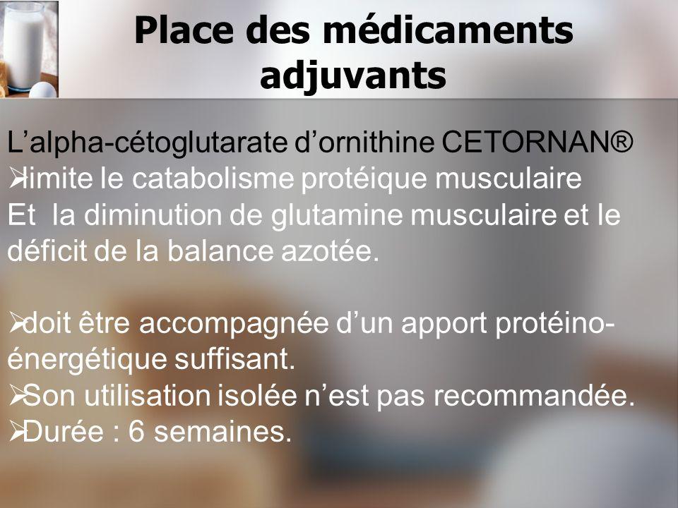 Place des médicaments adjuvants Lalpha-cétoglutarate dornithine CETORNAN® limite le catabolisme protéique musculaire Et la diminution de glutamine mus