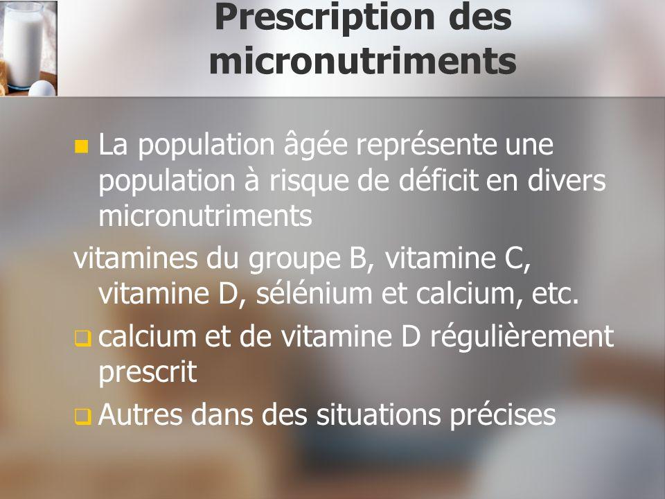 Prescription des micronutriments La population âgée représente une population à risque de déficit en divers micronutriments vitamines du groupe B, vit