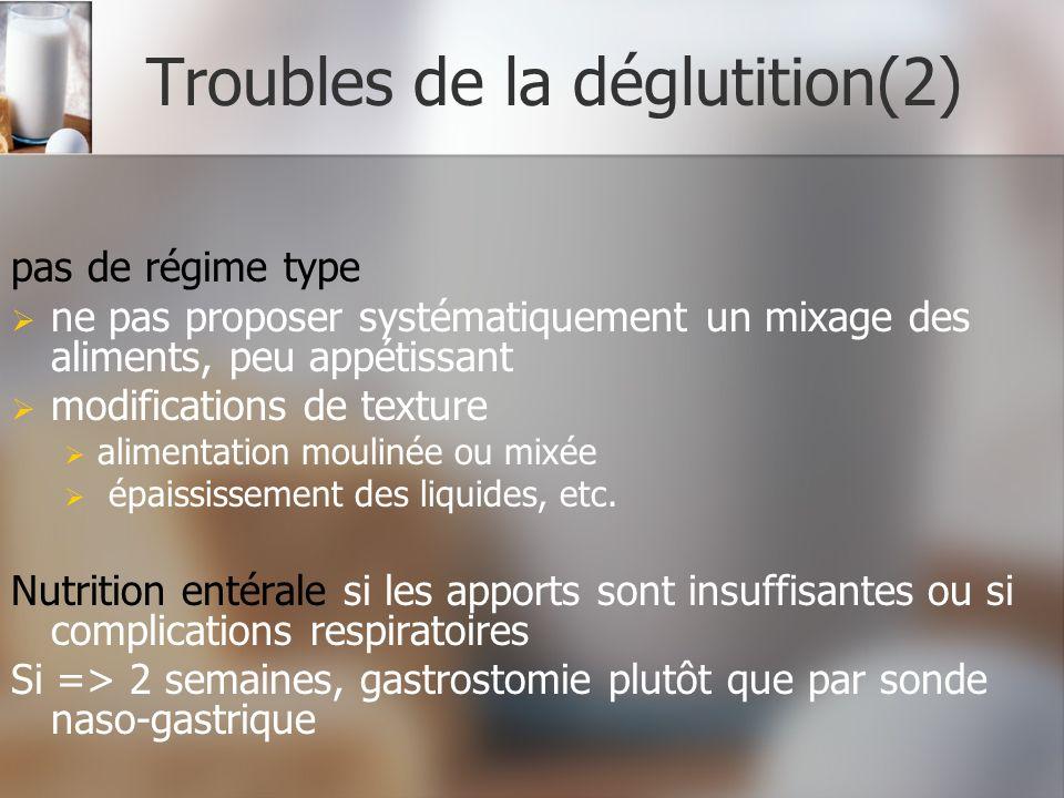 Troubles de la déglutition(2) pas de régime type ne pas proposer systématiquement un mixage des aliments, peu appétissant modifications de texture ali