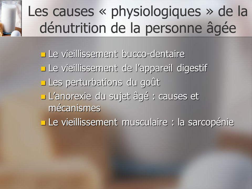 Les causes « physiologiques » de la dénutrition de la personne âgée Le vieillissement bucco-dentaire Le vieillissement bucco-dentaire Le vieillissemen