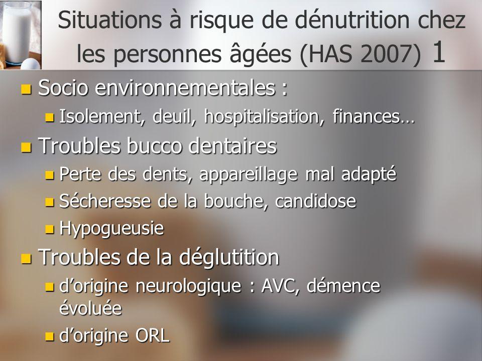 Situations à risque de dénutrition chez les personnes âgées (HAS 2007) 1 Socio environnementales : Socio environnementales : Isolement, deuil, hospita