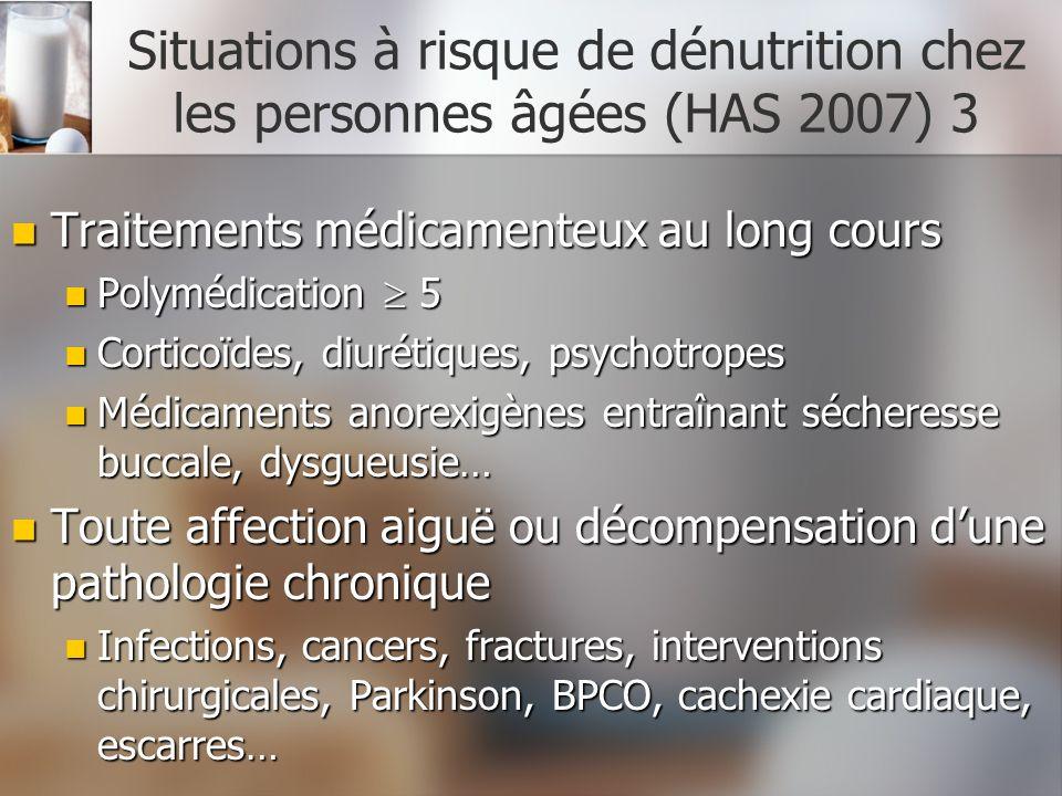 Situations à risque de dénutrition chez les personnes âgées (HAS 2007) 3 Traitements médicamenteux au long cours Traitements médicamenteux au long cou