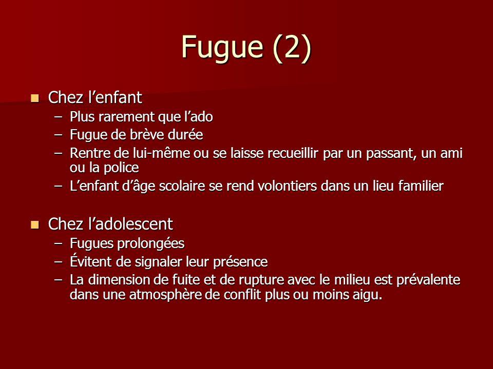 Fugue (2) Chez lenfant Chez lenfant –Plus rarement que lado –Fugue de brève durée –Rentre de lui-même ou se laisse recueillir par un passant, un ami o