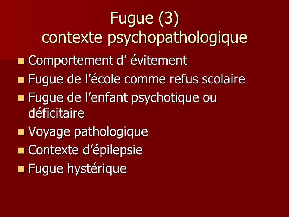 Fugue (3) contexte psychopathologique Comportement d évitement Comportement d évitement Fugue de lécole comme refus scolaire Fugue de lécole comme ref