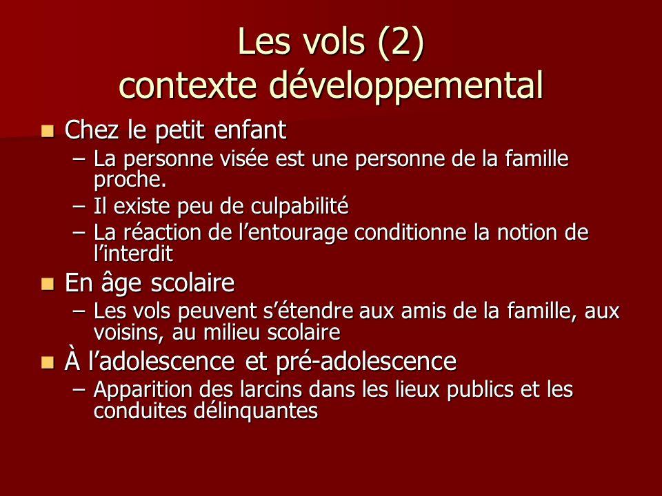 Les vols (2) contexte développemental Chez le petit enfant Chez le petit enfant –La personne visée est une personne de la famille proche. –Il existe p