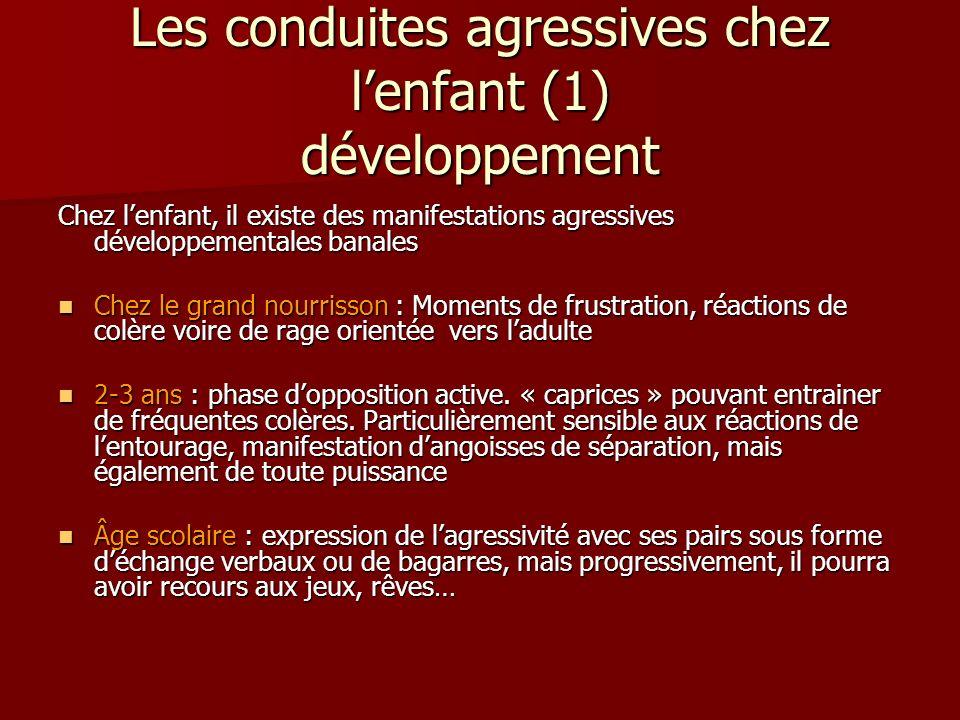 Les conduites agressives chez lenfant (1) développement Chez lenfant, il existe des manifestations agressives développementales banales Chez le grand