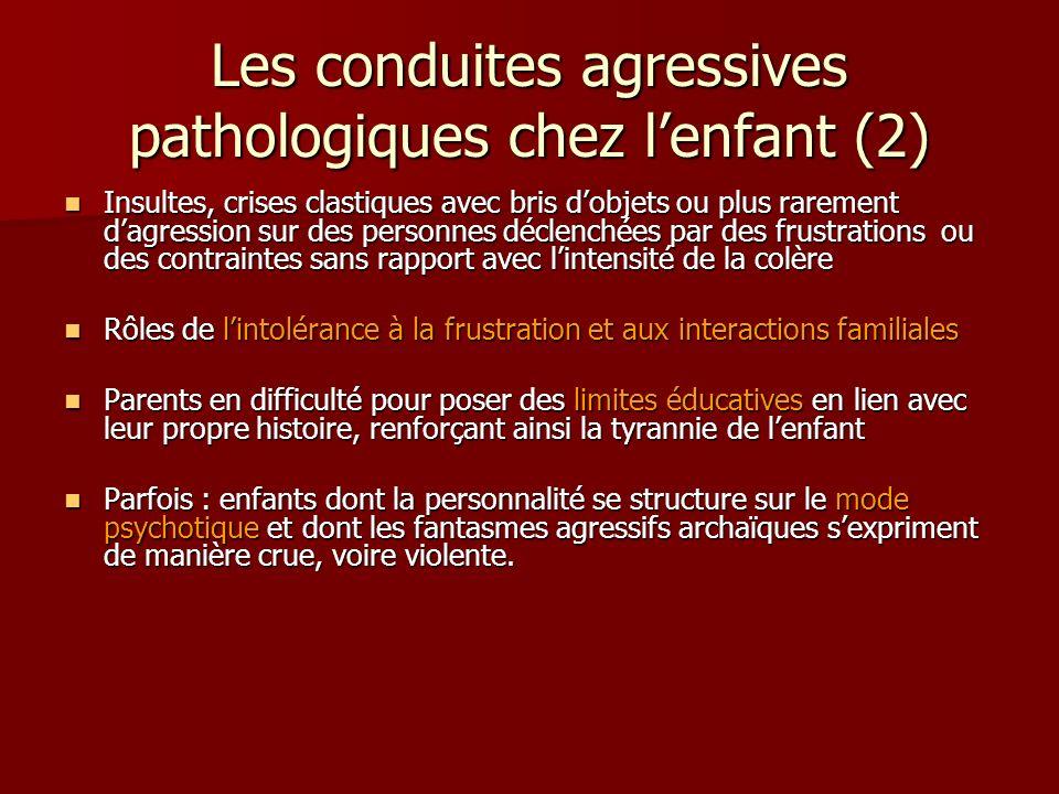 Les conduites agressives pathologiques chez lenfant (2) Insultes, crises clastiques avec bris dobjets ou plus rarement dagression sur des personnes dé