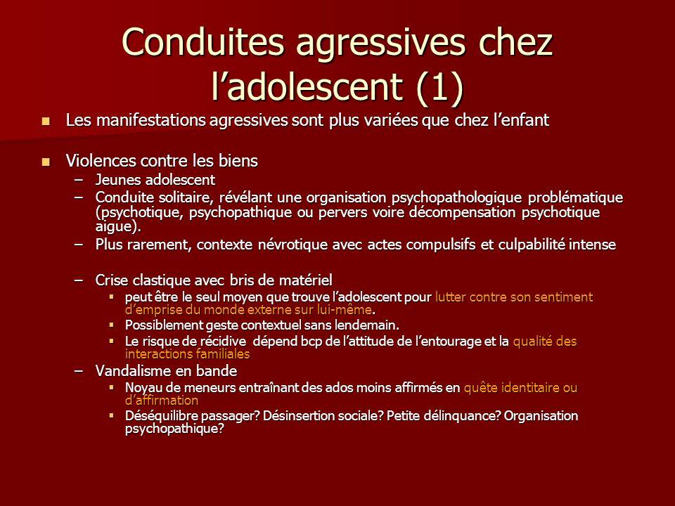 Conduites agressives chez ladolescent (1) Les manifestations agressives sont plus variées que chez lenfant Les manifestations agressives sont plus var