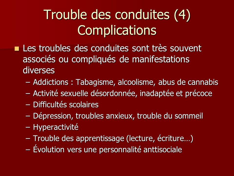 Trouble des conduites (4) Complications Les troubles des conduites sont très souvent associés ou compliqués de manifestations diverses Les troubles de