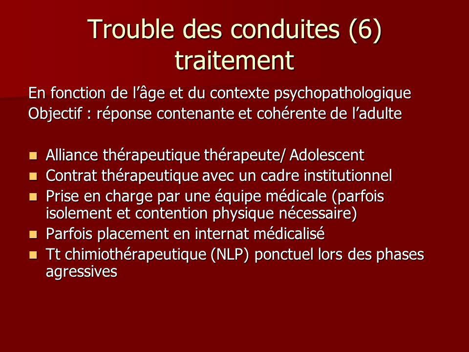 Trouble des conduites (6) traitement En fonction de lâge et du contexte psychopathologique Objectif : réponse contenante et cohérente de ladulte Allia