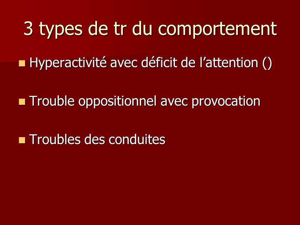 3 types de tr du comportement Hyperactivité avec déficit de lattention () Hyperactivité avec déficit de lattention () Trouble oppositionnel avec provo